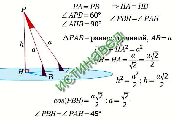 Угол между наклонной и плоскостью -это угол между наклонной и ее проекцией на